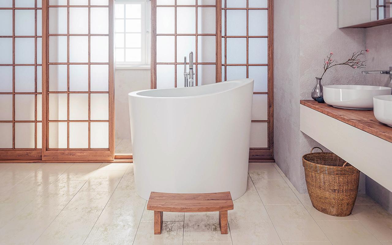aquatica true ofuro mini freistehende stein badewanne. Black Bedroom Furniture Sets. Home Design Ideas
