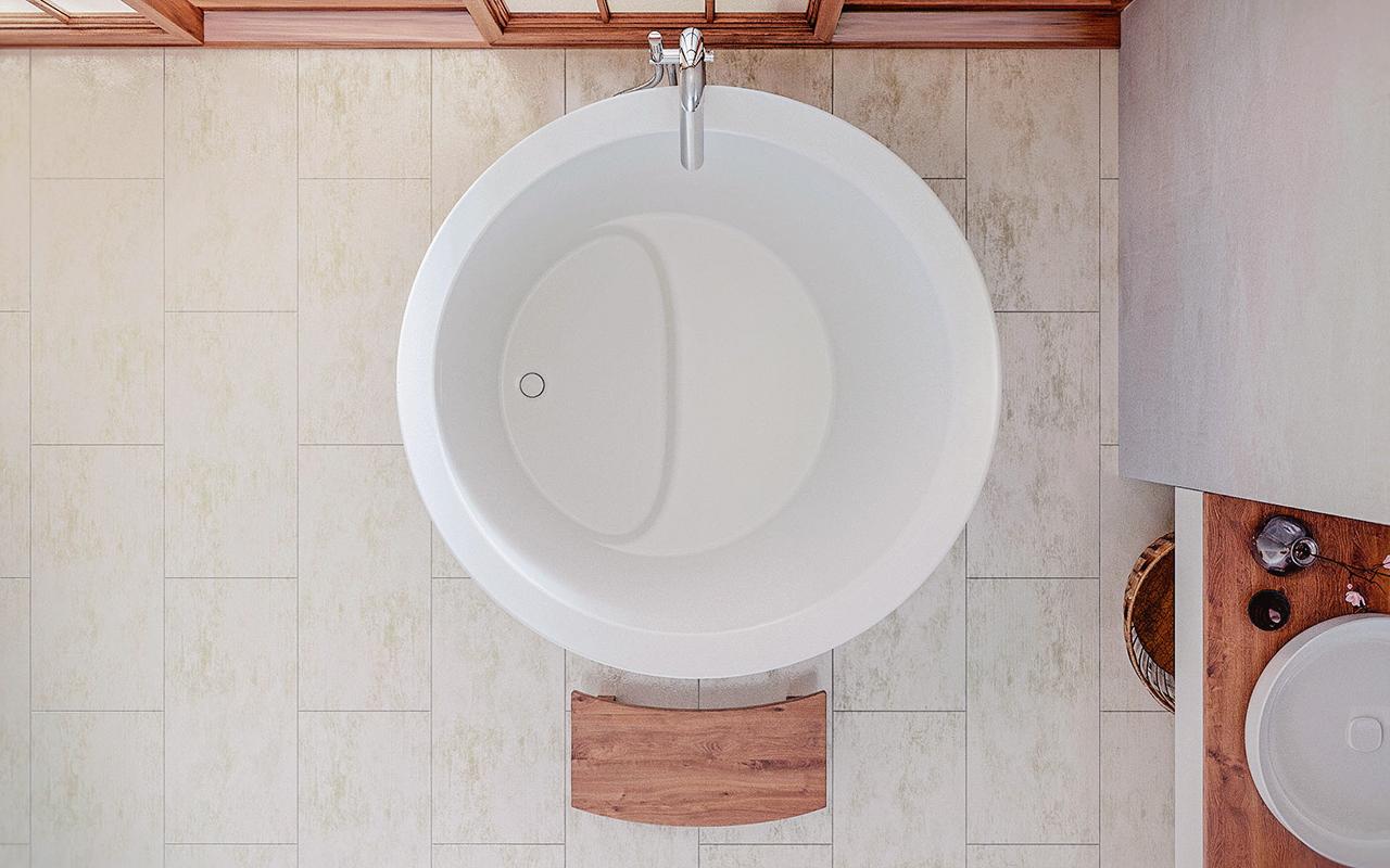 Aquatica true ofuro mini freistehende stein badewanne for Mini badewanne