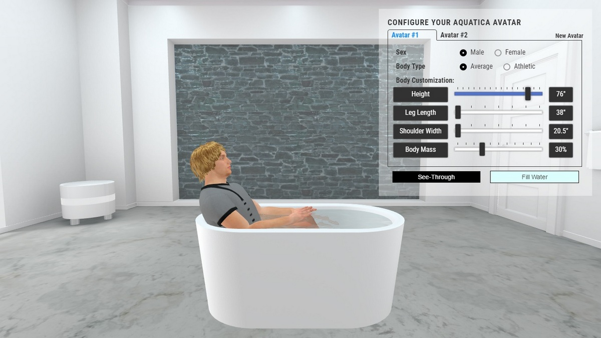 Purescape 014a freestanding acrylic bathtub 3D Body Position