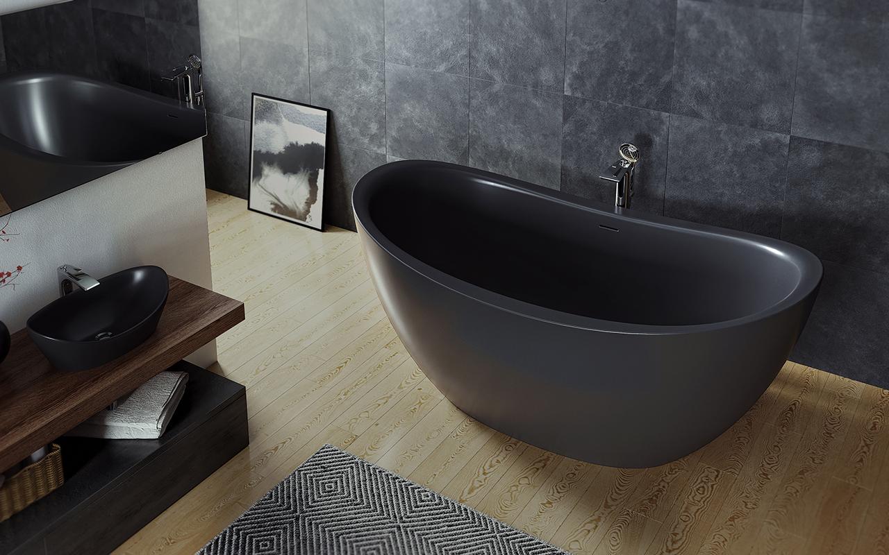 Aquatica Purescape™ 171M Schwarz Freistehende Badewanne Aus Kunststein